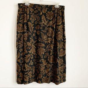 Vintage Black Gold Print Midi Skirt Size 12